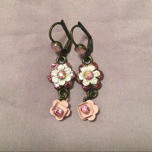 Michal Negrin style dangle gem earrings In Pink